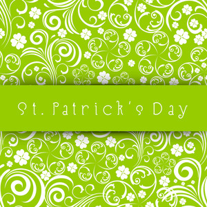 Happy St. Patricks Day Concept With Beautiful Seamless Floral Design On Abstract Green Background.