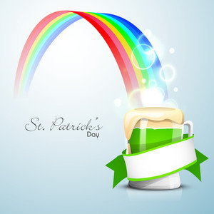 Happy St. Patrick's Day Concept With Beer Mug On Beautiful Rainbow Background.