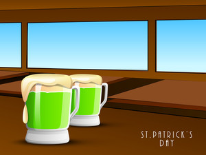 Happy St. Patrick's Day Concept With Beer Mugs On Wooden Background.