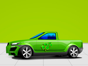 Happy St. Patricks Day Concept With Car And Clover Leaves On Abstract Background.