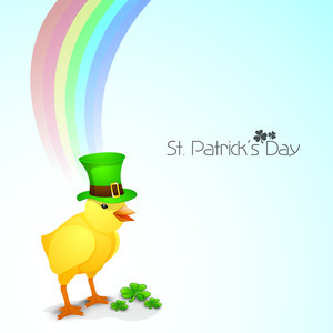 Happy St. Patrick's Day Concept With Chick Wearing Leprechauns Hat On Shiny Waves Background.