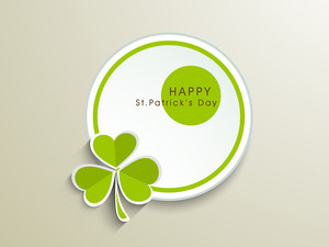 Happy St. Patrick's Day Concept With Clover Leaf And Stylish Text