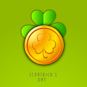 Happy St. Patricks Day Concept With Clover Leaf Design On Gold Coin On Green Background.