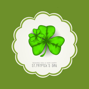 Happy St. Patricks  Day Concept With Clover Leaves And Stylish Text