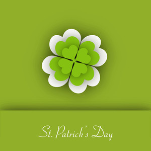 Happy St. Patricks Day Concept With Clover Leaves On Green Background.
