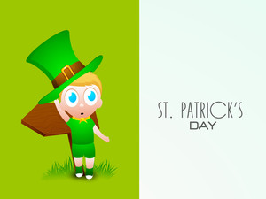 Happy St. Patrick's  Day Concept With Cute Little Boy Wearing Leprechaun's Hat On Nature Background.