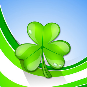 Happy St. Patrick's Day Concept With Glossy Clover Leaf On Green Waves Background.