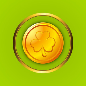 Happy St. Patrick's Day Concept With Gold Coin On Shiny Green Background.