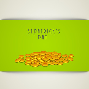 Happy St. Patricks Day Concept With Gold Coins And Stylish Text On Geeen And Grey Background.