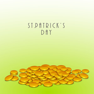 Happy St. Patricks Day Concept With Gold Coins And Stylish Text On Green Background.