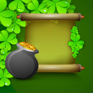 Happy St. Patrick's Day Concept With Golden Banner With Blank Space