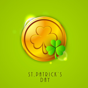 Happy St. Patricks  Day Concept With Golden Coin And Clover Leaf On Shiny Green Background.