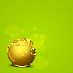 Happy St. Patrick's Day Concept With Golden Pot Full Of Coins On Shiny Green Background.
