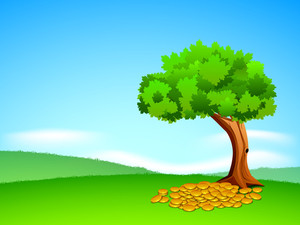 Happy St. Patricks Day Concept With Green Tree And Gold Coins On Nature Background.