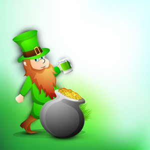Happy St. Patricks Day Concept With Leprechaun And Traditional Mud Pot With Full Of Gold Coins.