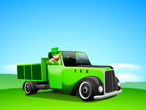 Happy St. Patricks Day Concept With Leprechaun Holding A Beer Mug In A Car On Abstract Nature Background.