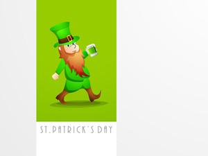 Happy St. Patricks Day Concept With Leprechaun Holding Beer Mug On Green And Grey Background.