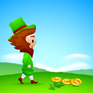 Happy St. Patricks Day Concept With Leprechaun Wearing Hat On Nature Background