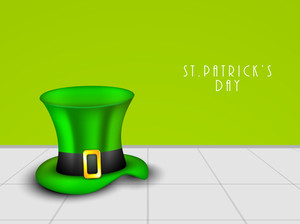Happy St. Patrick's Day Concept With Leprechaun's Hat On Abstract Background.