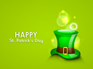 Happy St. Patricks Day Concept With Leprechauns Hat On Shiny Green Background.