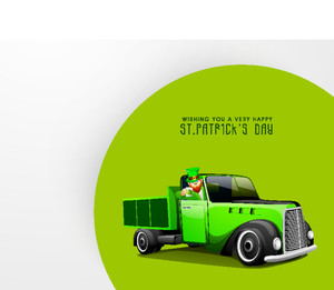 Happy St. Patricks Day Concept With Leprechaun's Holding Beer Mug In His Car On Green And Grey Background.