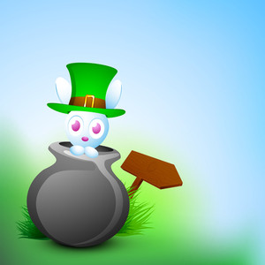 Happy St. Patrick's Day Concept With Little Bunny In Traditional Mud Pot Wearing Leprechaun's Hat On Nature Background.