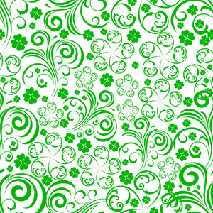 Happy St. Patricks Day Concept With Seamless Flowers Pattern In Green Color On White Background.