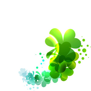 Happy St. Patrick's Day Concept With Shiny Clover Leaves On White Background.