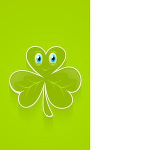 Happy St. Patricks Day Concept With Smiling Clover Leaf With Space For Your Text On Green And Grey Background.