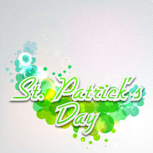 Happy St. Patricks Day Concept With Stylish Text On Seamless Clover Flower Decorated On Grungy Grey Background.