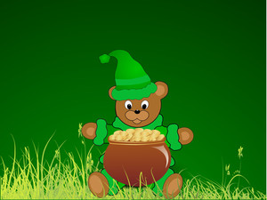 Happy St. Patricks Day Concept With Teddy Bear Holding Traditional Mud Pot With Full Of Gold Coins On Green Abstract Background.