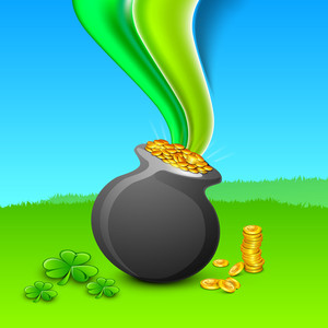 Happy St. Patrick's Day Concept With Traditional Mud Pot With Full Of Coins On Nature Background With Green Waves.