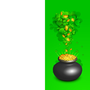 Happy St. Patricks Day Concept With Traditional Mud Pot With Full Of Gold Coins And Clover Leaves And Space For Your Message.