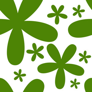 Happy St. Patricks Day Seamless Pattern With Beautiful Green Flowers On Shiny White Background.