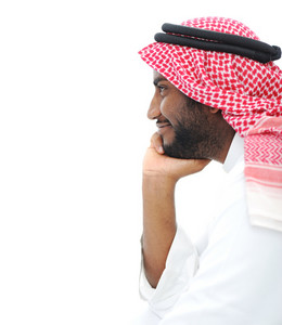 Happy successful Arabic businessman profile portrait with copy space