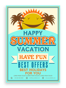 Happy Summer Vacations template banner or flyer design decorated with palm trees and sun.