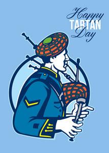 Happy Tartan Day Bagpiper Greeting Card