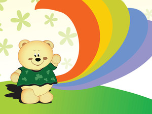 Happy Teddy Bear And Rainbow Cartoon Background