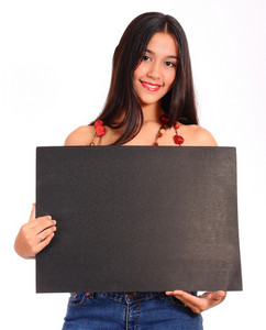 Happy Teenager Holding A Blank Black Board