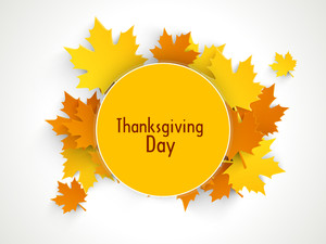 Happy Thanksgiving Day Background With Beautiful Autumn Maple Leaves