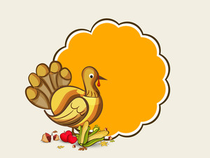 Happy Thanksgiving Day Celebration Concept With Beautiful Turkey Bird On Abstract Background.