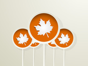 Happy Thanksgiving Day Concept With Autumn Leaves On Orange