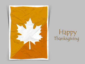 Happy Thanksgiving Day  Concept With Autumn Leaves On Tag