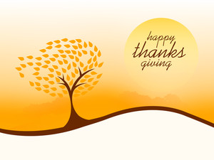 Happy Thanksgiving Day Concept With Beautiful Autumn Tree On Wave Background.
