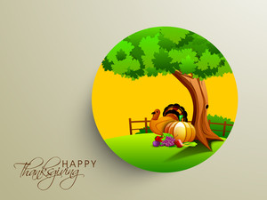 Happy Thanksgiving Day Concept With Beautiful Nature View With Turkey Bird