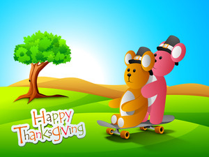Happy Thanksgiving Day Concept With Cute Teddy Bears On Nature Background.