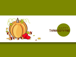 Happy Thanksgiving Day Concept With Pumpkin On Green Background