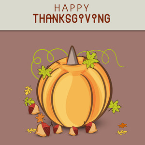 Happy Thanksgiving Day Concept With Pumpkin On Grey And Brown Background.