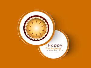 Happy Thanksgiving Day Concept With Pumpkin Pie On Orange Background.