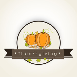 Happy Thanksgiving Day Concept With Pumpkins On Abstract Background.